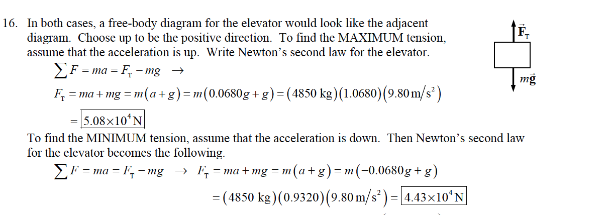 "In both cases, a free-body diagram for the elevator would look like the adjacent diagram. Choose up to be the positive direction. To find the MAXIMUM tension, assume that the acceleration is up. Write Newton's second law for the elevator. 16. mg F =""la + mg = m(a+g)-m(0.0680g+g)-(4850 kg)(1 0680)(9.80m/s2) 5.08x10'N To find the MINIMUM tension, assume that the acceleration is down. Then Newton's second law for the elevator becomes the following. - (4850 kg) (0.9320) (9.80m/s2)-4.43x10 N"