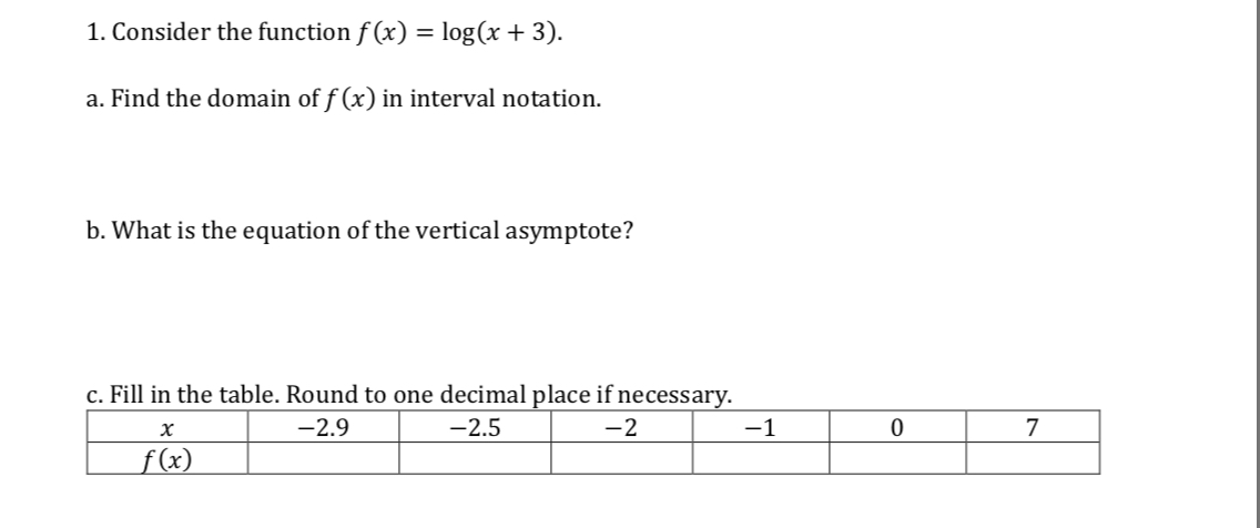 I. Consider the function f(x) = log (x + 3) a. Find the domain of f (x) in interval notation b. What is the equation of the vertical asymptote? c. Fill in the table. Round to one decimal place if necessar 2.5 2 0 7 2.9 (x