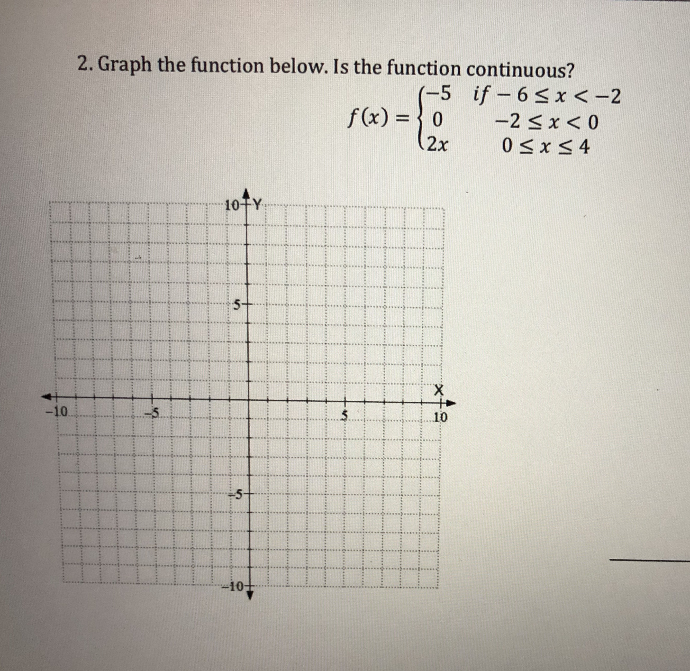 Graph the function below. Is the function continuous? f (x)o 2x 10TY 5 10 10