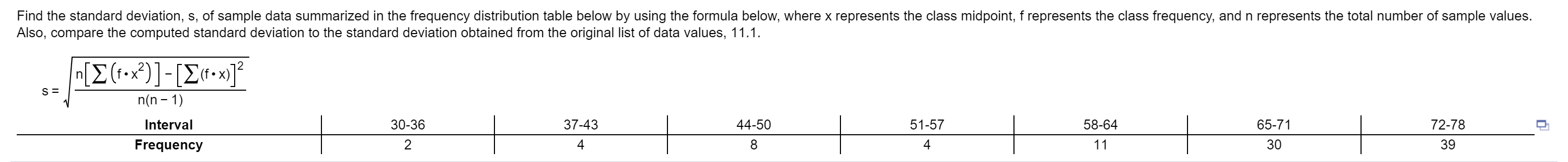 Answered: Find the standard deviation, s, of… | bartleby