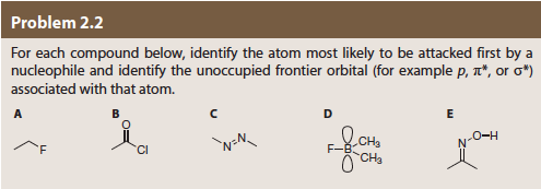 "Problem 2.2 For each compound below, identify the atom most likely to be attacked first by a nucleophile and identify the unoccupied frontier orbital (for example p, T"", or σ*) associated with that atom. Cl"