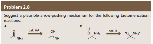 Problem 2,8 Suggest a plausible arrow-pushing mechanism for the following tautomerization reactions cat. HA OH cat B O NH2 NH2 NIH