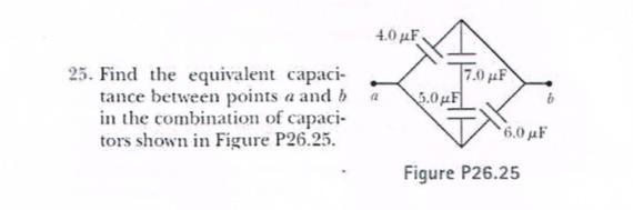 4,0 μF 25. Find the equivalent capaci- ν.0μ tance between points a and b in the combination of capaci tors shown in Figure P26.25. α Figure P26.25