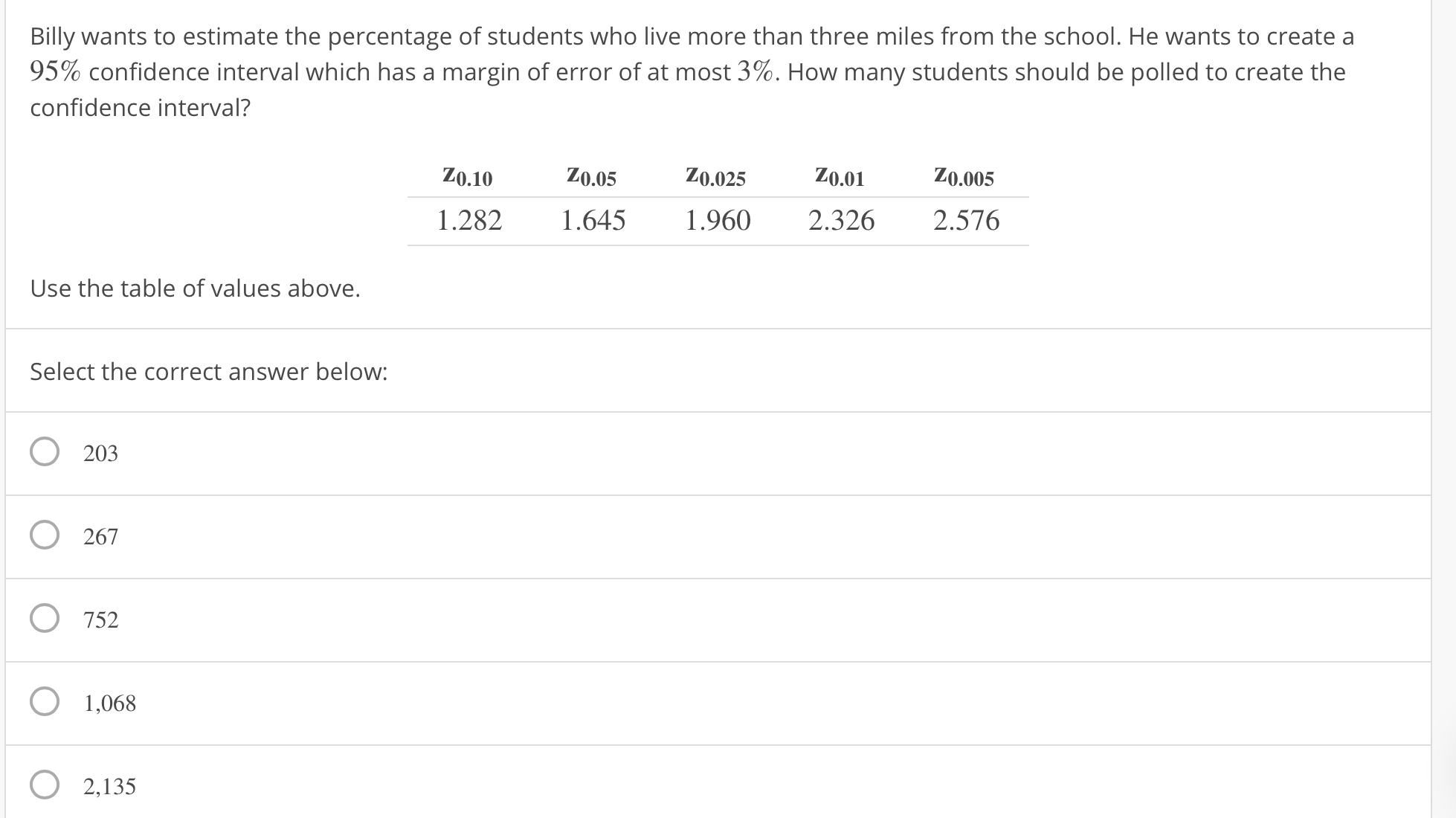 Billy wants to estimate the percentage of students who live more than three miles from the school. He wants to create a 95% confidence interval which has a margin of error of at most 3%. How many students should be polled to create the confidence interval? Z0.10 Z0.05 Z0.025 Z0.01 Zo.005 1.282 1.645 960 2.326 2.576 Use the table of values above. Select the correct answer below: 0 203 O 267 O 752 1,068 O 2,135