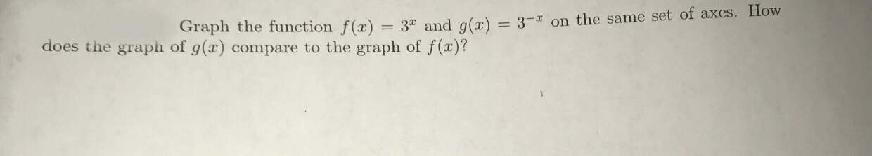 Graph the function f(x) 3° and g(x)-3-x on the same set of axes. How does the graph of g(x) compare to the graph of f (a)?
