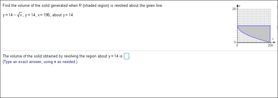 Find the volume of the solid generated when R (shaded region) is revolved about the given line. 28- - Vx , y = 14, x y14 196; about y= 14 200 The volume of the solid obtained by revolving the region about y 14 is (Type an exact answer, using T as needed.)