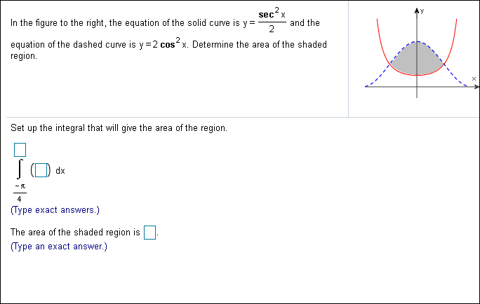 2 sec x Ay and the 2 In the figure to the right, the equation of the solid curve is y equation of the dashed curve is y 2 cos x. Determine the area of the shaded region Set up the integral that will give the area of the region. dx (Type exact answers.) The area of the shaded region is (Туре an exact answer.)