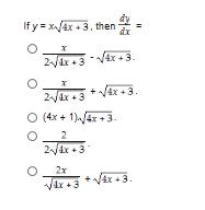 If y x4x+3, then 2ix+3ix3 2i 3ix3 O (4x+1)/4x+3 2Ax+3 2x vi3Ar3